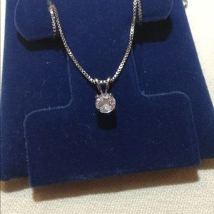 Necklace SS white zircon pendant and chain.